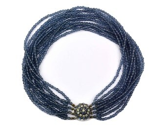 1964 Christian Dior Necklace Made in Germany // Blue Glass Beaded Multi-Strand, Pave Domed Rhinestone Clasp