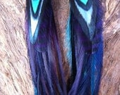 Purple and Blue feather earrings Earthy Tribal Feather Earrings//Aztec American Indian Inspired Long Feather Earrings//Bohemian Gypsy style