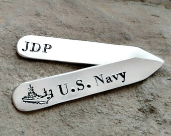 Custom Collar Stays - US Navy Gift - Navy Dad Gift - Navy Son Gift -Uncle Gift - Navy Brother Gift - Groomsman Gift - Dad Christmas Gift
