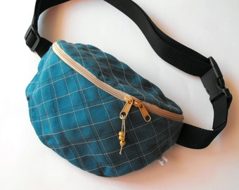 fanny pack/hip bag - blue and beige, chequered UNISEX (medium size)