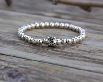 Initial Bracelet Sterling Silver Silver Beaded Bracelet Stack Bracelet Layered Bracelet