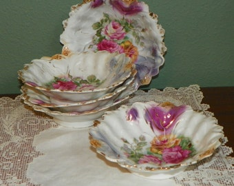 Vintage Luster Ware Noritake Hand Painted Berry Bowls Set  gold floral lusterware porcelain