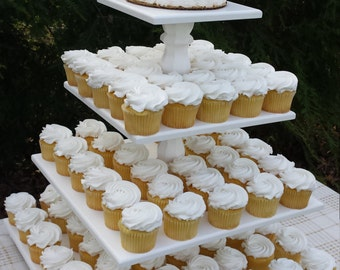 Cupcake Stand, Wedding Cupcake Stand, Wood Cupcake Stand, Square Cupcake Stand, Cake Stand, 4 Tier Cupcake Stand, Your Divine Affair