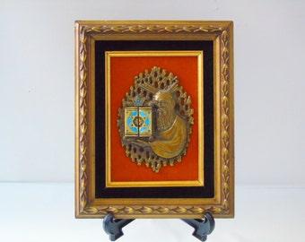 Judaica Prophet Moses with Torah, Jewish Wall Art , Hebrew Bible ,Vintage Brass Metal Picture , Star of David  Magen David