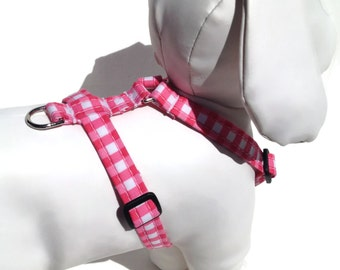 Pink Gingham Dog Harness for Small to Large Dogs
