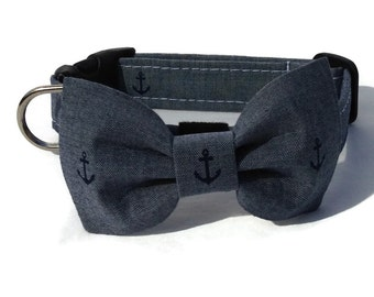 Dog Bow Tie and Collar Set in Chambray Anchor Print for Small to Large Dogs