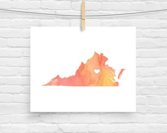Virginia or ANY STATE Map - Custom Personalized Heart Print - I Love Richmond - Hometown Wall Art Gift Souvenir - Watercolor Series