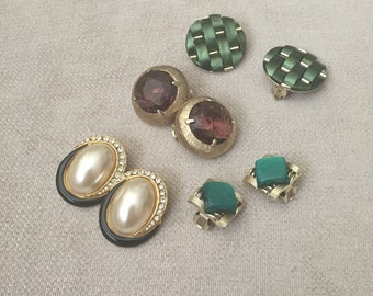 Vintage Earring Jewelry Coro, green gold-toned, glass topaz, faux pearl, 8 piece set