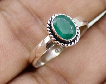 925 Solid Sterling Silver Faceted Emerald Gemstone Women Ring SJXR_0191