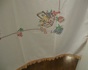 Vintage Print Table Cloth 48 X 50 Inch, Faux Cross Stitch