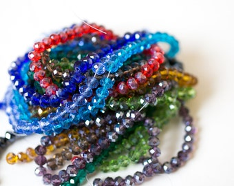 Handmade Glass Beads - Mixed Colors - Austrian Crystal - Faceted Abacus - 8x6mm - 10 Strands - Ships IMMEDIATELY from California - B1240