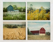Barn Photograph Set of Four Prints, Farm Photography Collection,  Modern Country Wall Art Set, Retro Farmhouse Artwork, Yellow Green Red Art
