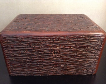 Antique faux bois faux antler box with velvet and shell interiors
