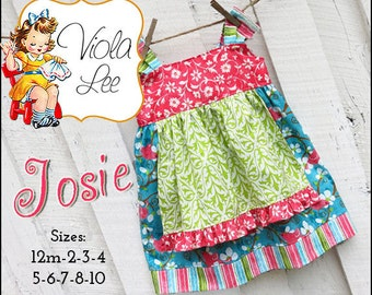 Josie... Apron Knot Dress Pattern. Jumper Pattern. INSTANT DOWNLOAD. Girl's Dress Pattern. pdf Sewing Pattern. 2/3T-8