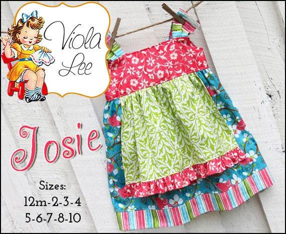 Josie... Apron Knot Dress Pattern. Jumper Pattern. INSTANT DOWNLOAD. Girl's Dress Pattern. pdf Sewing Pattern. 2/3T-8