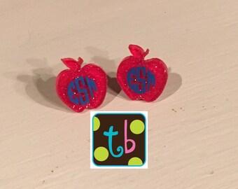 Adorable Monogram Personalized Earrings Apple Earrings Teacher Earrings