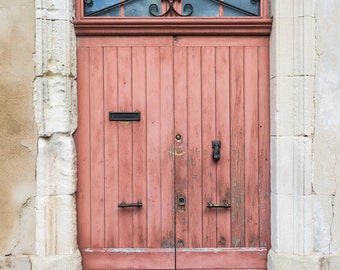 Provence France Photo - Salmon Pink Doorway, Provence, French Home Decor, Large Wall Art, France Art Print, Travel Photography, Architecture