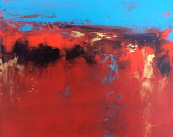 Abstract Landscape 'Life on Mars' - acrylic painting on canvas - size 20cm x 20cm