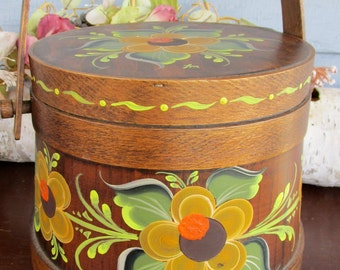 Vintage Firkin or Sugar bucket by CL Lane Co. and Tole painted by La Von 1970s or 80s