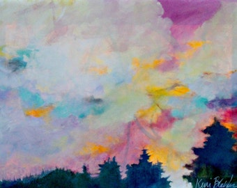 "Abstract Landscape Painting, Original Clouds, Sky, Acrylics on Canvas ""Sunset Over the Trees"""