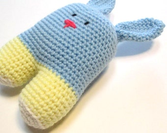 Baby's first Easter bunny.  Ready to ship, light blue and pastel yellow baby bunny stuffed animal for baby boy first Easter.