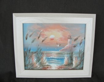 Tropical Oil on Canvas Painting of Sunset and Lighthouse Signed