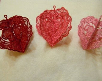3D Lace Valentine, Machine Embroidered