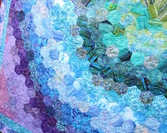 Hexagon Batik King / Queen Patchwork Quilt, Handmade by PingWynny