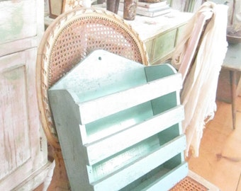 Beautiful wood  minty green vintage wood magazine book holder shabby chic prairie