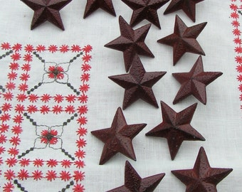 Set of 12 reddish - brown accent STARS - Aluminum with pin back -art supplies home decor