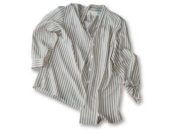 Striped Silk Blouse, Cream Silk, Tan Silk, Long Sleeve, Silk Shirt, Shoulder Pads, Size Large