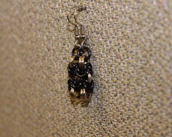 Black and champagne byzantine earrings