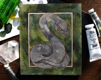 Original Watercolour Slytherin Crest Illustration