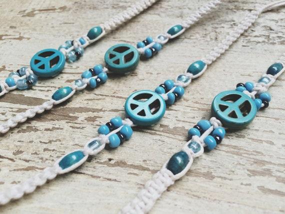 TURQUOISE PEACE BRACELET- Peace Symbol Bracelet- Macrame Bracelet- Unisex- Surfer Jewellery- Bohemian Bracelet- Vintage Style Bracelet