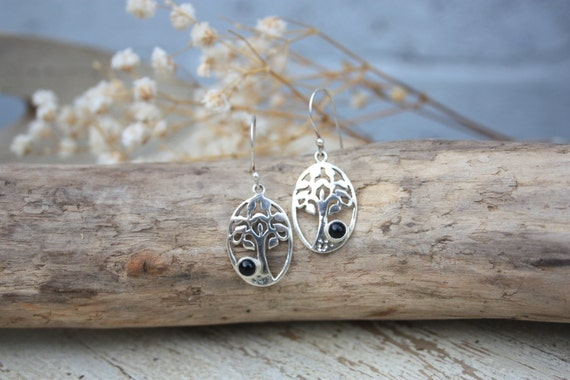 TREE OF LIFE - Onyx Earrings- Sterling Silver Earrings- Handmade- Silver Jewellery- Sacred Geometry- Chakra Jewellery- Earrings- Navajo
