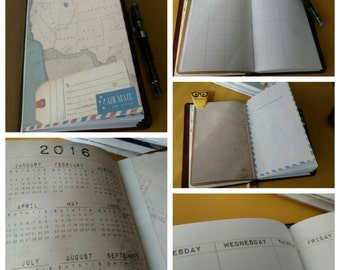 2016 :6 month Planner Insert for Traveler's Notebooks- A Monthly and Weekly Format in one
