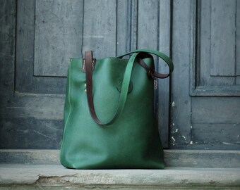 green oversized Tote -  handmade leather bag vintage hobo style Zuza collection by Ladybuq