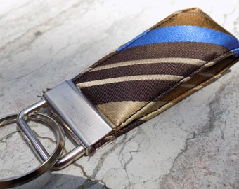 Striped Upcycled Silk Necktie Mini Key Fob. Gifts for Him Under 5 Stocking Stuffer Handmade Keychain Teen Teacher Coworker Ring Chain Keys