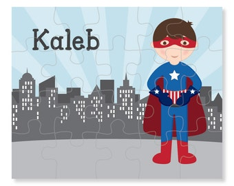 Superhero Boy Puzzle - Personalized Puzzle for Kids - Jigsaw Puzzle - Superhero Puzzle - Personalized Name Puzzle - 8 x 10 puzzle, 20 pieces