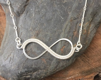Infinity Necklace - Wire Wrapped Necklace - Sterling Infinity Necklace - Eternity  Necklace - Wire Wrap Necklace - Sweet Water Silver