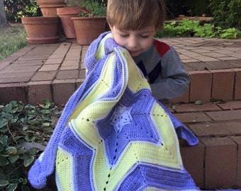 "Instant Download Crochet Pattern ""Baby You are a SuperStar"" Textured Star Shaped Blanket"
