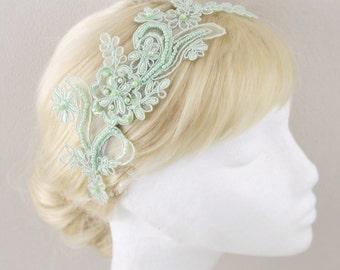 Mint Green Beaded  Lace Headband , Bridal Mint Lace Headband, Mint Head Piece