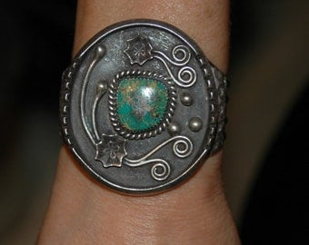 Lovely Vintage Navajo Walter Mitchell Hand Wrought King's Manassa Turquoise Heavy Bracelet - 95 Grams hallmarked