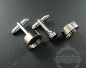 10pcs Screw Change Series 12mm setting size screwed top bezel rhodium plated brass DIY cufflinks,cuff link supplies jewelry findings 1500055