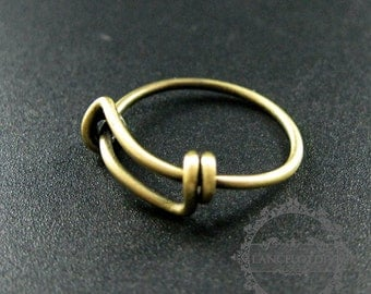5pcs 17mm diameter vintage style antiqued bronze brass simple wiring ring DIY ring supplies findings 1294034