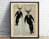 DEER Skateboarding Dictionary Art Print Poster Boys Teens Wall Decor Skateboard Animal Illustration Antique Book Page 8x10 11x14 +More Sizes