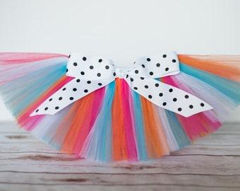 Orange, pink and turquiose tutu 'Lily' carnival tutu girls tutu circus tutu photo prop tutu skirt tropical tutu girls birthday tutu skirt