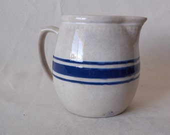antique Stoneware Pitcher  Cobalt Stripe