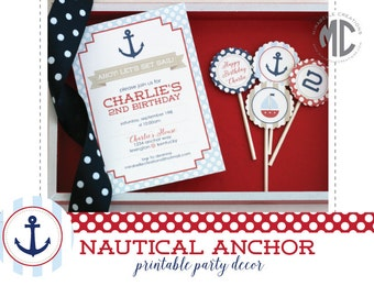 Nautical Anchor Printable Digital Party Collection - Mirabelle Creations