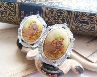 Vintage Fragonard Couple Blue White Setting Victorian Style Clip On Earrings J49